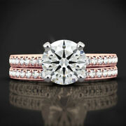 New Design 0.90 Ct Real Diamond Engagement Band Set 14k Solid Rose Gold Size 7 8