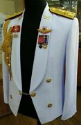 General Ranks White Uniform Soldier Suit, Pants, Pins, Wing Thai Army Military