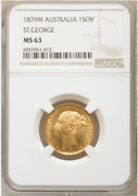Only 1 Better Australia 1879 Melbourne St George Reverse Sovereign - Ngc Ms63