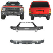 Front + Rear Bumpers W/ Led Lights Textured Black For Jeep Cherokee Xj 1984-2001