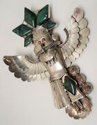 Vintage Navajo Sterling Silver Turquoise Original Bolo Kachina Art By Jerry Roan
