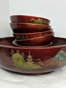 Red Lacquer Wooden Salad / Fruit Bowl Set Large Bowl And6 Bowls Japanese Nts Asian