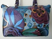 Anuschka Tribal Potpourri Hand Painted Leather Tote With Organizer Wallet - Nwt