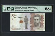 Colombia 5000 Pesos 24-8-2015 P459a Uncirculated Graded 68