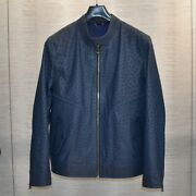 Genuine Ostrich Leather Men's Luxury Navy Blue Bespoke Made To Measure Jacket