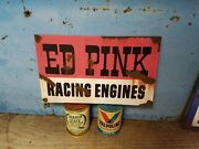 Racing Engines Speed Shop Barn Find Painted Vintage Look Gas Oil Hand Made Sign