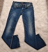 Silver Tuesday 27/31 Low Slim Bootcut Medium Wash Thick Stitch Back Flap Pockets