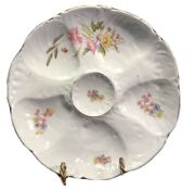 Antique Bohemian Porcelain Molded Scalloped Oyster Plate Great Marks C.1889-1895