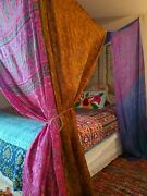 Boho Bed Canopy In Stock King Queen Bohemian Curtain Silk Pink Blue Yellow/gold