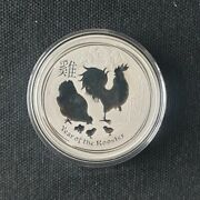 2017-p Australia Year Of The Rooster 1oz .9999 Silver Coin In Perth Mint Capsule
