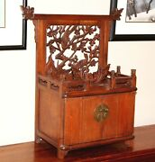 Antique Chinese Carved Cedar Jewelry And Dressing Box Late 17c Ming / Qing Ch'ing