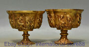 3.6 Rare Old Chinese 24k Gold Gems Dynasty Palace Civil Servant Wine Glass Pair
