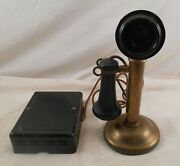 Western Electric Company All Brass Candlestick Telephone With 684 Ringer Box