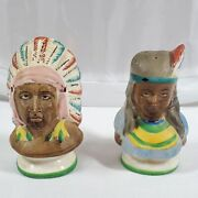 Vintage Indian Americana Salt And Pepper Shakers Cold Paint Occupied Japan