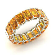 Real 3.40 Ct Emerald Citrine Diamond Engagement Band Solid 14k White Gold Size 8