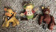 Lot Of 3 Vintage Toys 1948 Rempel Frog Rempel Lamb And Modern Toy Bear