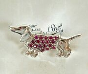 Sterling Silver Dachshund Brooch Pin With Ruby Fleece Coat And Eye