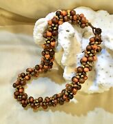 Early Miriam Haskell/hess Braided Wood Bead W/glass Bead Clasp Choker. Unsigned