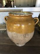 Antique French Ceramic Clay Confit Potvery Early 1900andrsquos