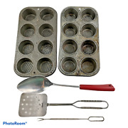 Vintage Lot Of 5 Kitchenware Items Muffins Tins And Utensils