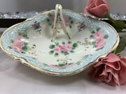 """Floral Gold Trim Candy Dish/ Trinket Plate/ Soap Dish With Finger Loop Handle 6"""""""
