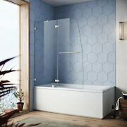 Sunny Shower Tub Shower Door Screen 48and039and039w Hinged Pivot Frameless Chrome Finish
