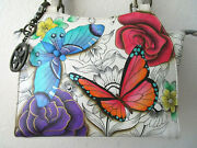 Anuschka Floral Paradise Hand Painted Leather Tote Purse - Nwt