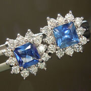 Real 1.72 Ct Stunning Diamond Blue Sapphire Stud 14k Solid White Gold For Sale