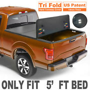 3 Fold 5ft Bed Hard Truck Tonneau Cover For For 2016-21 Toyota Tacoma On Top