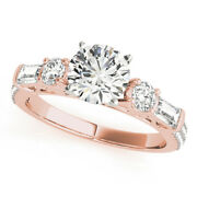 Excellent 1.67 Ct Real Round Cut Diamond Engagement Rings 14k Rose Gold Size 5 6
