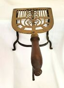 Vintage Brass And Wrought Iron Fireplace Trivet Stand Kettle Warmer