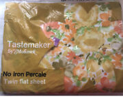 Vintage Mohawk Tastemaker Floral Twin Flat Sheet Percale Usa Flowers Bed