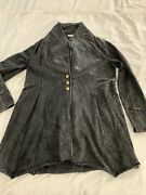 Testimony Los Angeles Size L Black Acid Wash French Terry 3 Button Long Jacket