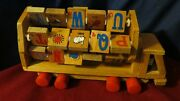 Vintage Wooden Truck With Spinning Alphabet, Number And Picture Tiles
