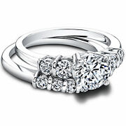 Solid 14k White Gold Ring 1.50 Ct Round Diamond Wedding Band For Women Size 7