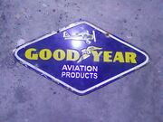 Porcelain Goodyear Aviation Products Enamel Sign Size 10 X 18 Inches 2sided