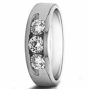 0.35 Ct Natural Diamond Menand039s Band For Sale Solid 14k White Gold Rings Size 9 10
