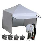 Ez Pop Up Canopy Tent With Awning And Sidewalls 10x10 Market -series, White