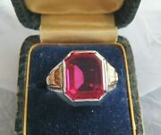 Stunning Antique Ostby Barton Sterling 14krgp Unisex Ruby Ring Sz 8 Ob