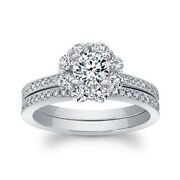 Solid 14k White Gold 1.16 Ct Real Diamond Wedding Ring Set For Women Size 7 8 9