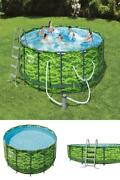 Steel Pro Max 14'x48 Circular Camo Above Ground Pool Set W Ladder Filter Cover