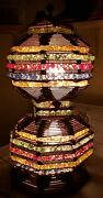 Vintage Prison Art Lamp Crafted With Popsicle Sticks And Colorful Marbles Works