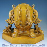12.4 Marked Old China Yellow Glaze Porcelain Dynasty Palace Dragon Seismograph
