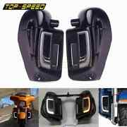 Motorcycle Led Grills Lights Solid Plates Cover Lower Vented Fairing For Harley