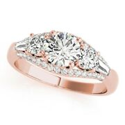 Stunning 1.50 Ct Real Diamond Women Engagement Ring Solid 14k Rose Gold Size 7 8