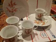 The Toscany Collection Richmond 4 Luncheon/ Snack Sets Japan. Orange Flowers