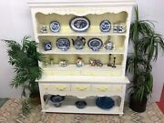 Large French Farmhouse Painted Wood Hutch