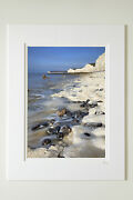 7x5 A4 Or A3 Photo Mounted Or Framed Of Low Tide At The Seven Sisters Sussex
