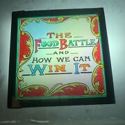 Antique Magic Lantern Slide Eg Wood The Food Battle And How We Can Win It - Title