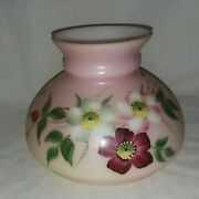 Hand Painted Pink Floral Lamp Shade Milk Glass 5 Inch Tall Burgundy Green